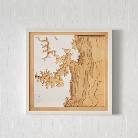 Wooden 3D Contour Map of Sydney Harbour