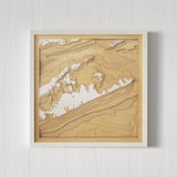 3D Wooden Contour Map of The Hamptons