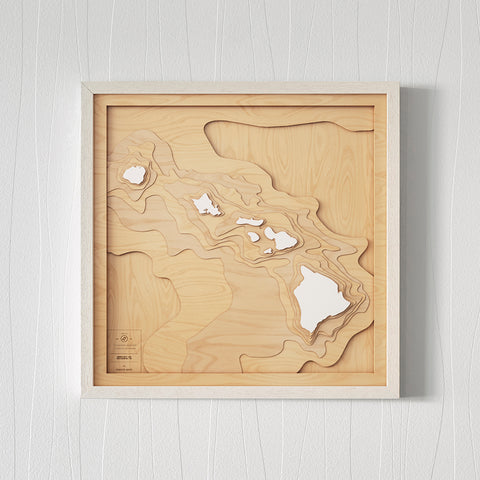 3D Wooden Contour Map of Hawaii
