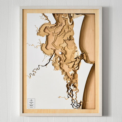 Wooden 3D Contour Map of Moreton Bay