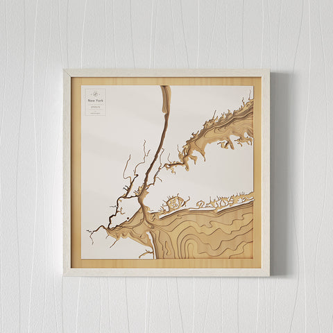Wooden 3D Contour Map of New York