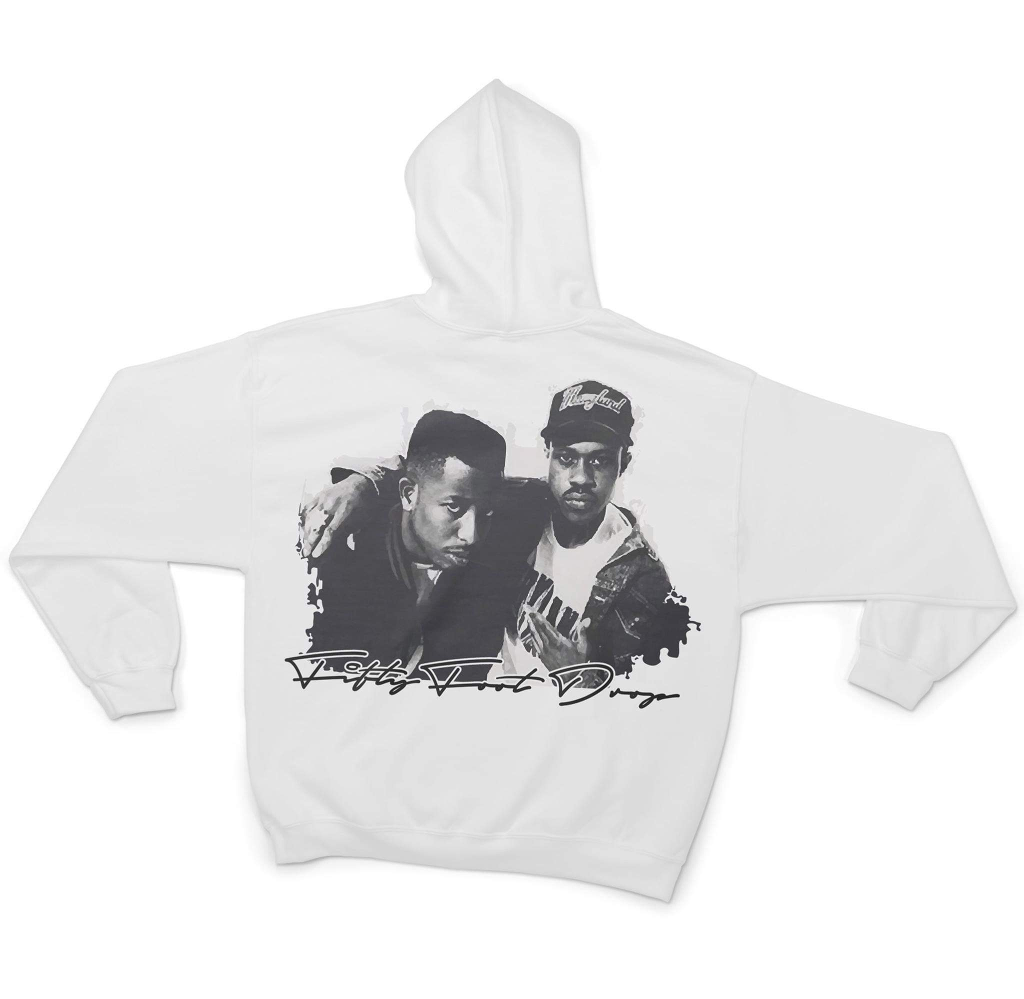 GANGSTARR - FIFTY FOOT DROP - WHITE HOODIE