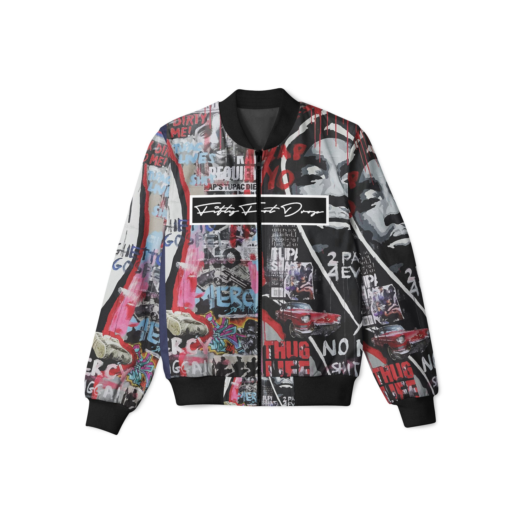 TUPAC 1 - FIFTY FOOT DROP - BOMBER JACKET  Fifty Foot Drop  fresh-on-road.myshopify.com Fifty Foot Drop