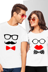 Matching Moustache and Lips Couple Tees