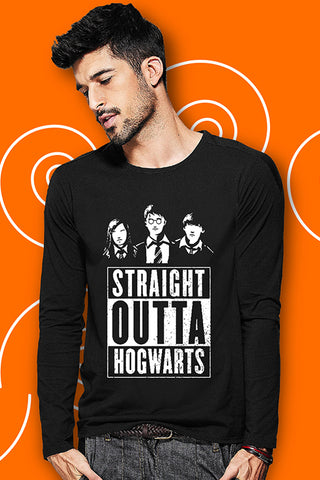 Straight Outta Hogwarts Full Sleeve Black T Shirt