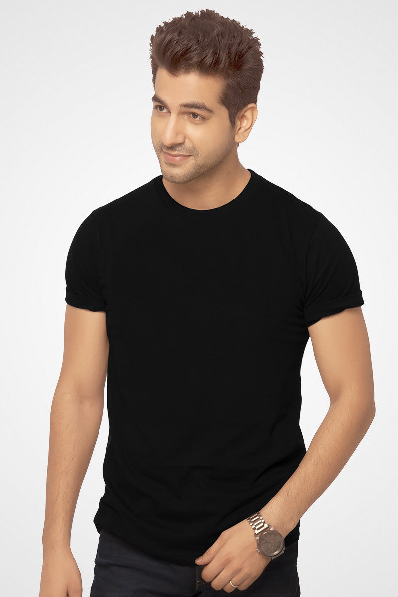 Buy online black plain half sleeve t shirt for T shirt plain black