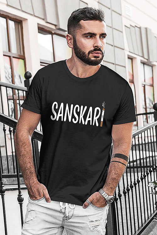 Sanskari Black Half Sleeve T-Shirt