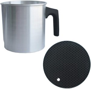Pouring Pot for Candle Making 2 lb & Trivet Mat (1/1 Pack), Wax Pouring Pitcher, Small