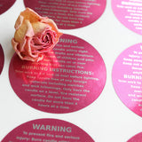 Cozyours Pink Candle Warning Labels 1.5 Inch, 500 pcs, Stickers for Candle Making
