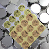 4oz Metal Tins with Lids 24 Pcs + Handmade with Love Stickers 24 Pcs