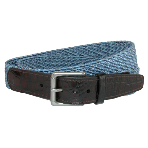 Hampton Elastic Stretch Belt with Croc Print Tabs