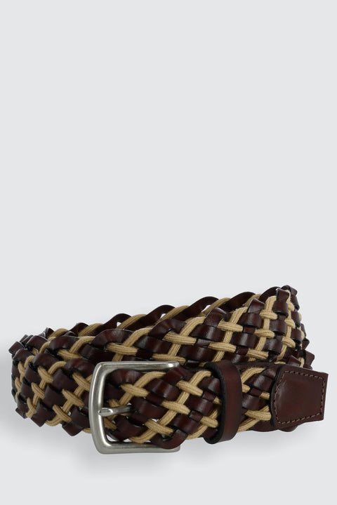 Como Leather and Cotton Cord Braided Belt