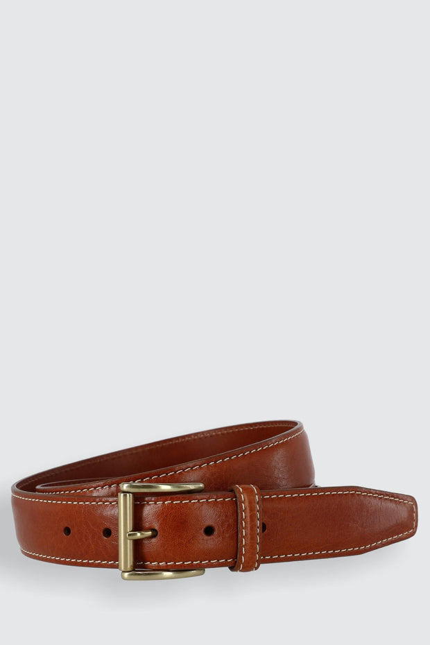 Mignon Garrison Grain Calfskin Feather Edge Belt