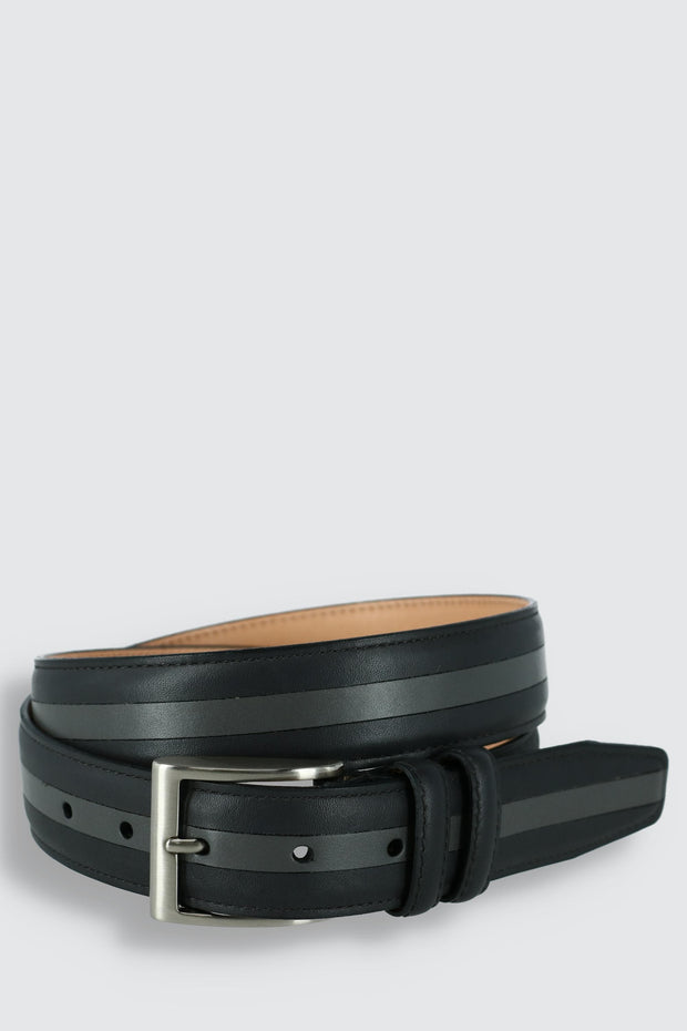 The Slate Italian Calfskin Two Tone Inlay Golf Leather Belt