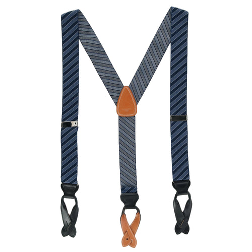 Park Avenue Diagonal Stripe Button End Elastic Braces