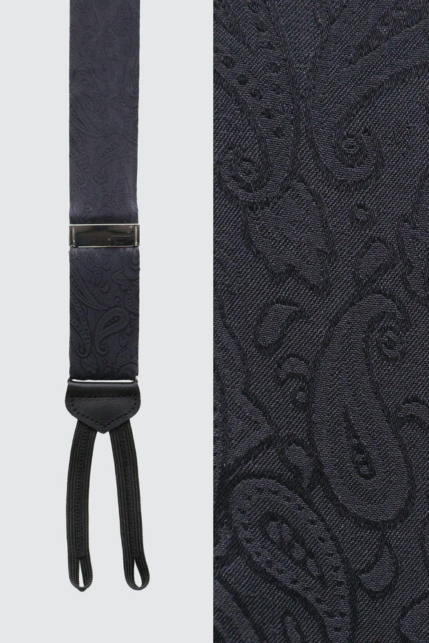 Formal Silk Charmeuse Tone on Tone Paisley Braces