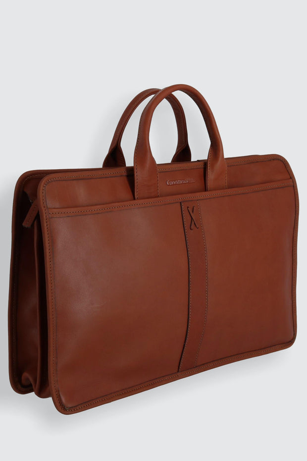 American Bullhide Leather Double Gusset Top Zip Briefcase