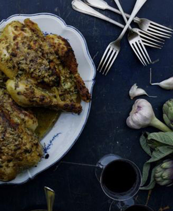 Roast Chicken <br> With Crème Fraîche And Herbs
