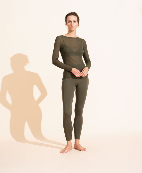 Alice Rib Long Sleeve Top - Olive