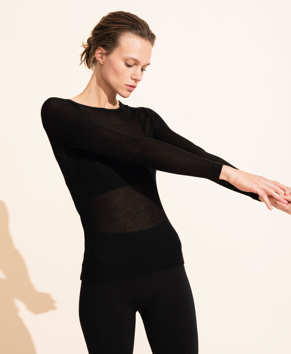 Alice Rib Long Sleeve Top - Black