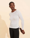 Alice Rib Long Sleeve Top - White