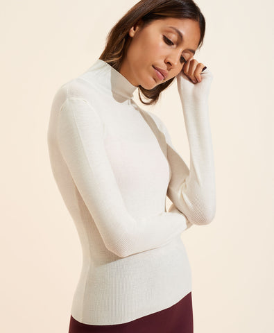 Margaux Merino Turtleneck Top - Ivory
