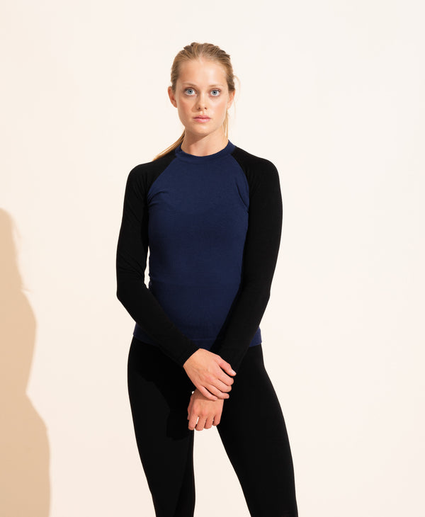 Albane Merino Crew Neck Top - Navy / Black