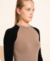Albane Merino Crew Neck Top - Taupe / Black