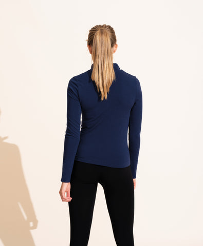 Alienor Merino Zip Up Top - Navy