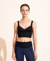 Jade Crop Top - Black / Ivory Stiching