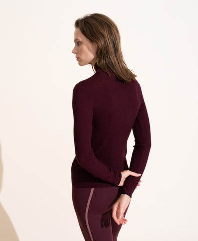 Margaux Merino Turtleneck Top - Prune
