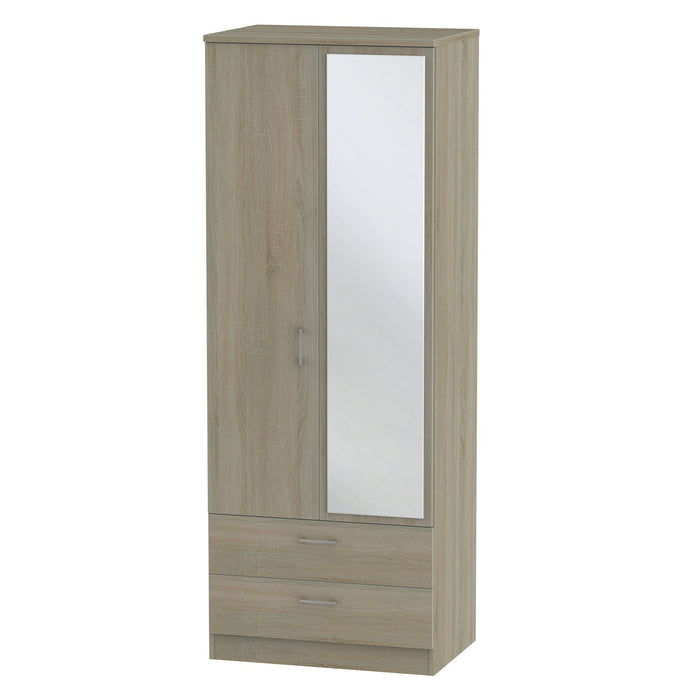 Devon 2'6 2 Drawer Mirrored Wardrobe - Clearance Factors