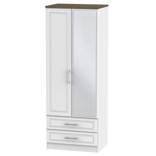 Kent Tall 2'6 2 Drawer Mirrored Wardrobe - Clearance Factors