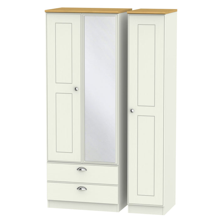 Victoria Tall Triple 2 Drawer Mirrored Wardrobe - Clearance Factors
