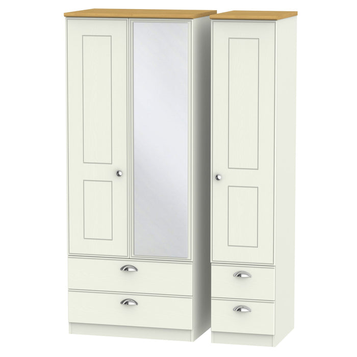 Victoria Tall Triple 2 Drawer, Mirror + Drawer Wardrobe - Clearance Factors
