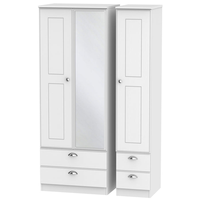 Victoria Triple 2 Drawer, Mirror + Drawer Wardrobe - Clearance Factors