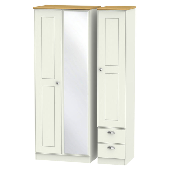 Victoria Triple Mirror + Drawer Wardrobe - Clearance Factors