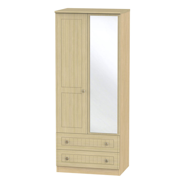 Warwick Tall 2'6 Mirrored 2 Drawer Wardrobe - Clearance Factors