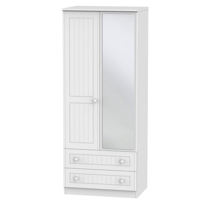 Warwick 2'6 Mirrored 2 Drawer Wardrobe - Clearance Factors