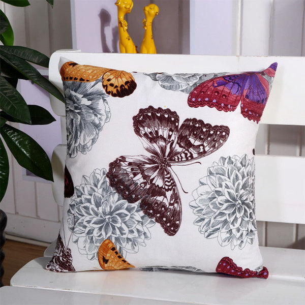 Butterfly And Flower Style Pillow-Decorhomium