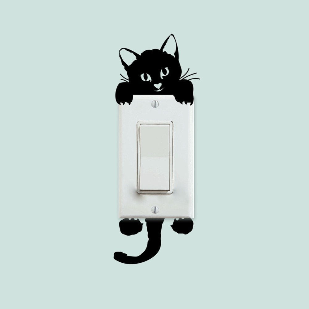 Wall stickers cat -  Cat And Dog For Switches Wall Stickers Decorhomium