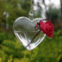 Clear Heart Shape Glass Hanging Vase-Decorhomium