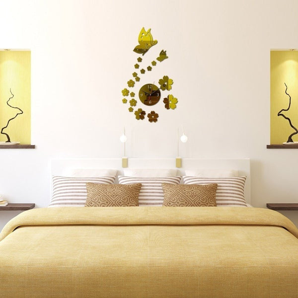 """Clock and Butterfly"" Wall Sticker-Decorhomium"
