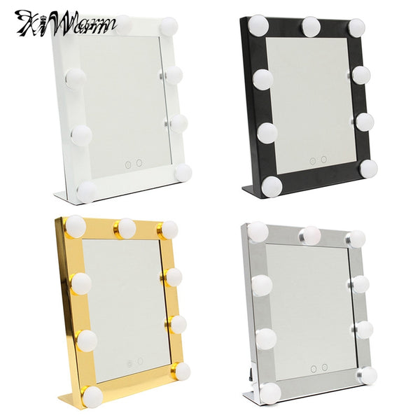 White Vanity Lighted Hollywood Makeup Mirror-Decorhomium