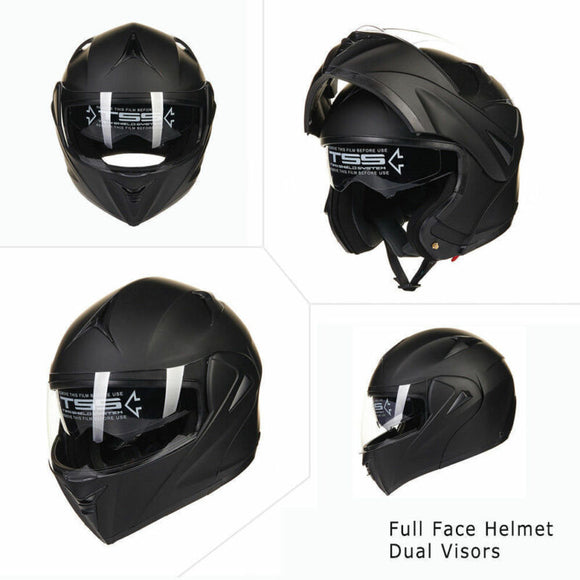 Full Open Face Modular, Flip Up Dual Visor, Motorcycle, Street Helmet, Black - AmazinTrends.com