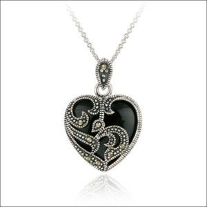 "18"", 925 Silver, Marcasite & Onyx, Heart Necklace - AmazinTrends.com"