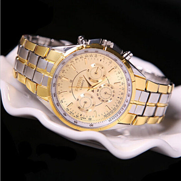 Luxury Date Gold Dial Stainless Steel Analog Quartz Wrist Watch - AmazinTrends.com