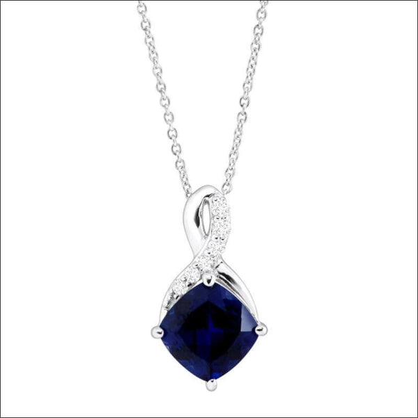 2 5/8 ct Created Sapphire & White Sapphire Pendant in Sterling Silver - AmazinTrends.com