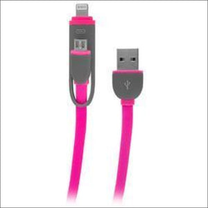 2-in-1 Charge and Sync Cable w/ microUSB and Lightning Connectors, Pink - AmazinTrends.com