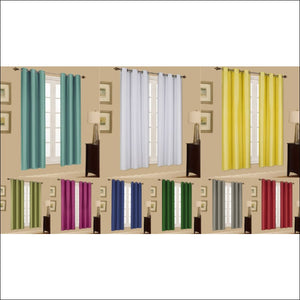 2 PANELS GROMMET FAUX SILK WINDOW CURTAINS, DRAPE FOAM LINED BLACKOUT THERMAL K32 - AmazinTrends.com